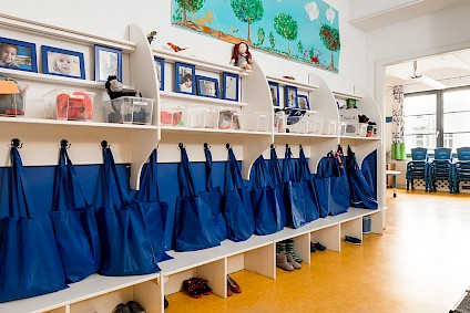 The dressing room of the Olympic group with matching blue accents and a dedicated space for each child